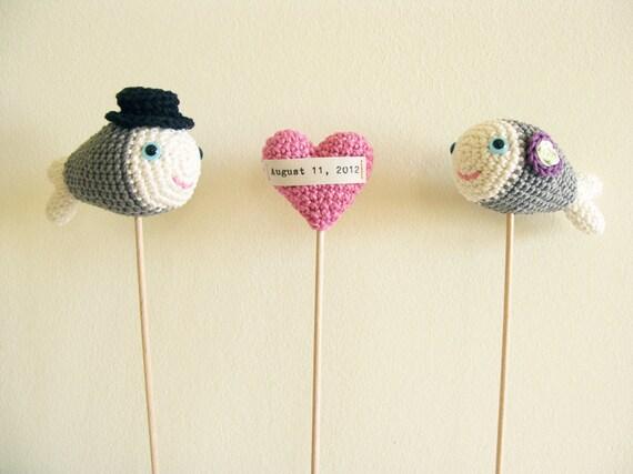 Gray Wedding Crochet Fish Cake Topper, Crochet Heart with Wedding Date Topper