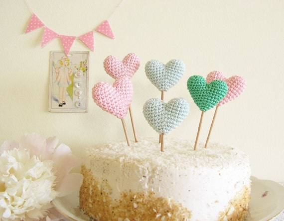 Hearts on the Cake Custom Colors Cake Topper for Kids by Cherrytime