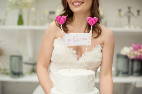 Romantic Je T'aime Wedding Cake Topper, French Wedding Cake Banner Sign, Pink Cake Topper