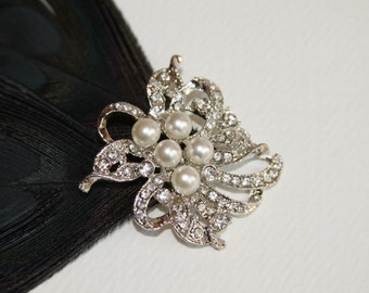 2 Rhinestone, Pearl Buttons 4553-Pearl