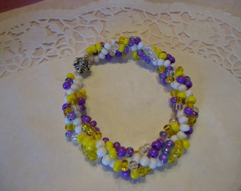 Purple, Yellow and White Spiral Weave Bracelet