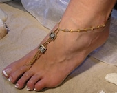 Gold Swarovski Crystals Barefoot Sandals Happi Feet Handmade Pair Beach Wedding Shoes The Amber HF9