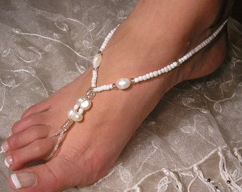 HappiFeet - barefoot sandals - beach wedding barefoot sandals - barefoot wedding sandals - barefoot sandals wedding - pearl - The Donna HF1