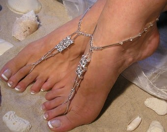 Happi Feet - beach wedding shoes - barefoot sandals - bridal accessories - wedding gown - wedding bridal shoes - crystal - The Chenetta HF2