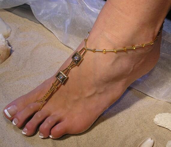 Gold Swarovski Crystals Barefoot Sandals Happi Feet Handmade Pair Beach Wedding Shoes The Amber HF9