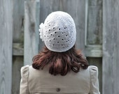 Crochet Hat for Women, Beanie with Flower applique, White Adult beanie for women