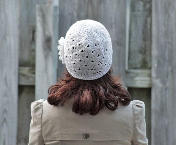 Crochet Hat for Women, Beanie with Flower applique, White Adult beanie for women