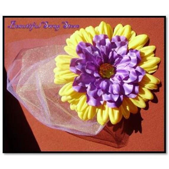 Purple Gold flower  Alligator hair Clip black friday cyber monday
