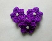 Set of 24 Mini flowers Crochet Flower Appliques Deep Purple with white pearl