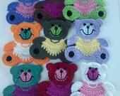 9 Large Crochet Teddy Bear Appliques 9 Colors