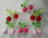 12 Handmade Crochet mini cherry Appliques Sewing Bow