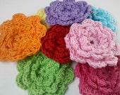 20 Handmade cream 2 inch Crochet Flower Appliques Sewing Bow