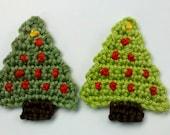 Set of 2 pcs handmade crochet christmas trees  appliques christmas scrapbooking