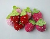 9 Handmade Crochet strawberry Appliques Sewing Bow
