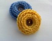 Christmas in July SALE Lot of 2 Handmade Crochet Flower Appliques U PICK colors