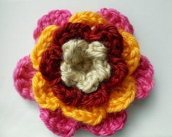 Big Crochet Flower Applique 3.5 inch Craft