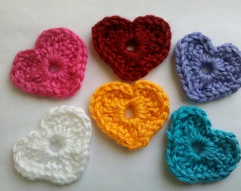 Valentine heart 6 Crochet heart Appliques Handmade