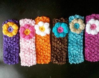 6 Crochet headbands baby girls with puff crochet flowers U PICK colors