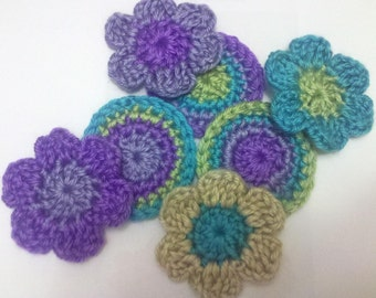 3 Rosettes circle and 4 crochet flowers set Appliques Sewing Bow