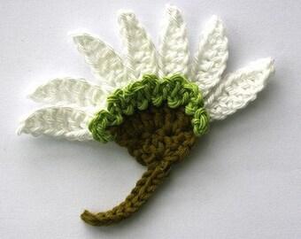 3 Aster flowers Crochet Flower Appliques