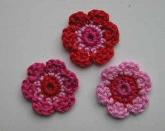 Lot of 3 flowers Crochet Flower Appliques (Red, Hot pink and pink)