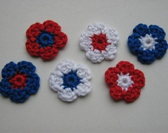 Set of 6 flowers Crochet Flower Appliques (Red, white and blue)