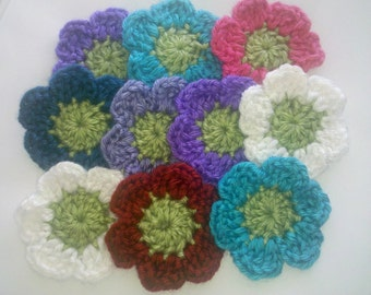 Set of 10 Crochet Flower 2.5 inches Appliques Craft Trim