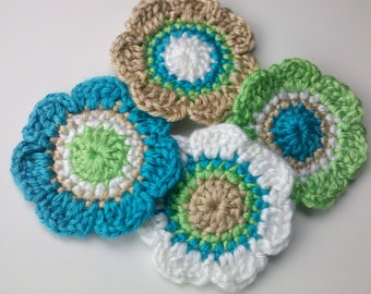Set of 4 Crochet Flower Appliques Craft Trim