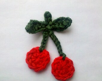 5 Handmade Crochet cherry Appliques Sewing Bow