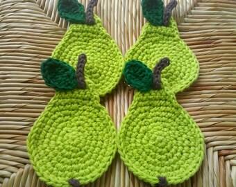 Pear Crochet Coasters Lime -set of 4