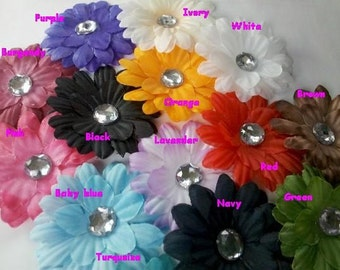 Lot 12 Daisy Flowers 2 Inch with Crystal Center toddler girl U PICK Colors