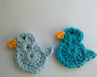2 Crochet Little turquoise blue bird Appliques Handmade for scrapbooking/ flat back/ embellish