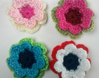 Set of 4 Crochet Flower Appliques Large flower Craft