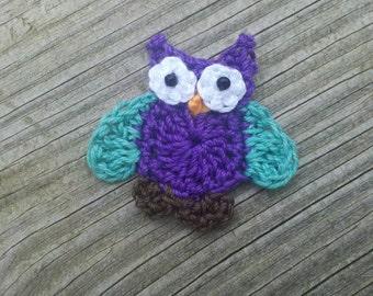 Crochet Little Purple owl Applique Handmade wings in teal for scrapbooking trim sewing flatback