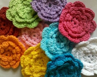 20 Large Handmade Crochet Flower Appliques Sewing Bow