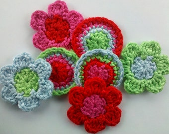 3 Rosettes circle and 4 crochet flowers set Appliques 2 inch Sewing Bow