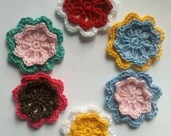 Lot of 6 Handmade Crochet Flower Appliques