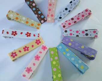 set of 25 Dot and flowers ribbon Partially Lined Double Prong Alligator Clips U Pick Color
