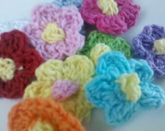 50 Crochet Flower Appliques 10 Color Trim Craft