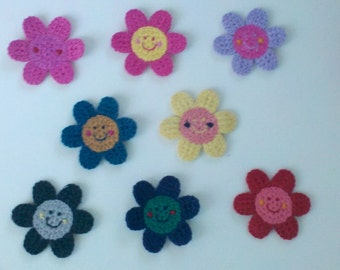 Spring deal 20% off 8 Crochet Flower Appliques  Smiley Face  Sunflower 8 colors