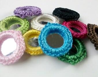Set of 50 Crochet Gypst Hippy Mirror Bead Appliques