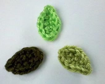 12 Handmade Mini Crochet leaves Appliques Sewing Bow