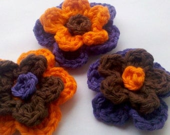 3 Crochet cotton Flower 3 inch Colorful flowers Craft