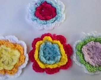 20 Handmade Crochet Flower Appliques Sewing Bow