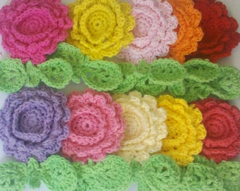 10 Large Handmade Crochet Flower with leaf Appliques Sewing Bow