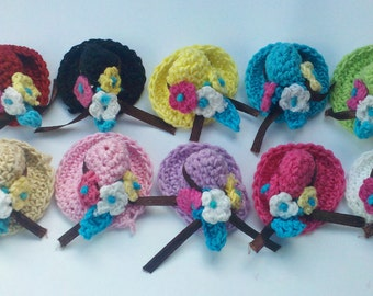 Christmas in july Buy 1set Get 1 hat free set of 10 Handmade Crochet mini hat with mini flowers Appliques doll hats 10 Color sewing