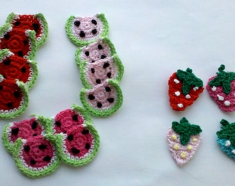 Grab bag Lot of 12 Pcs Crochet watermelon Appliques & 4 crochet mini strewberries Sewing Bow Scrapbooking