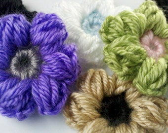 Lot of 6 Handmade Crochet Petal Puff Stitch Flower