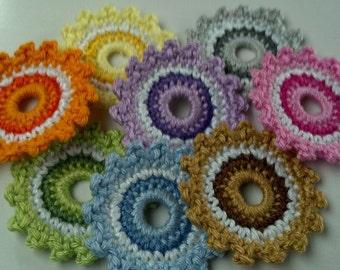 8 Crochet circle wheel Appliques Handmade