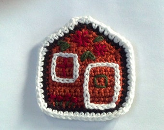 Crochet Home Sweet Home Ginger bread 's house Applique Handmade for scrapbooking/ flat back/ trim/ embellish